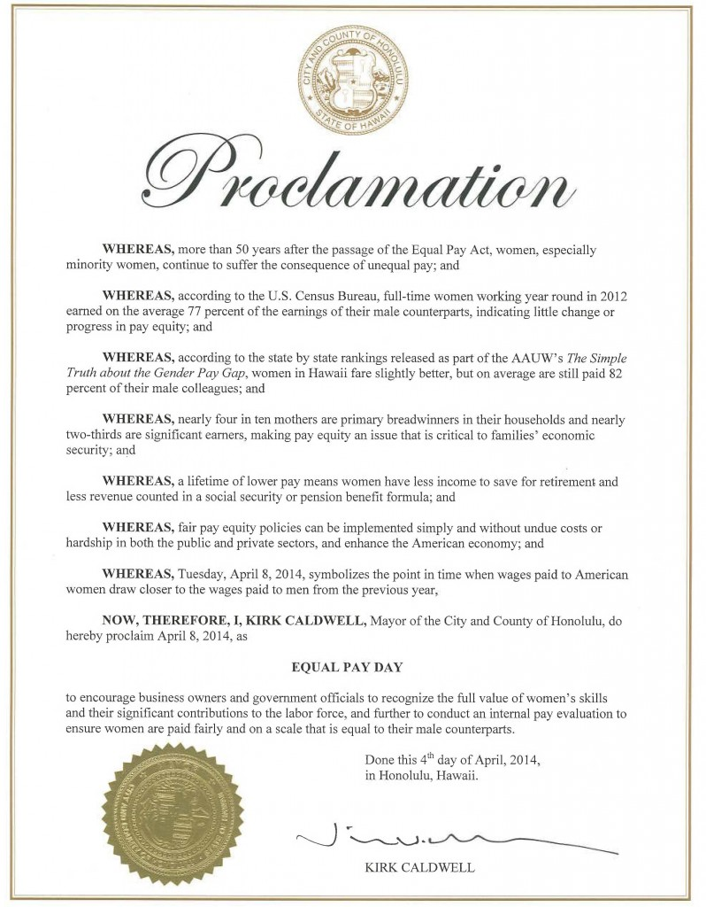 EqualPayProclamation-Mayor-2014
